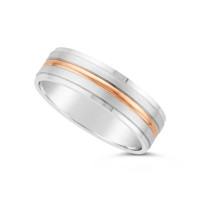 18ct White Gold Heavy Weight Flat Court Wedding Ring With A Flat Shinny Edge, And With A 1.3mm 18ct Rose Gold Band Onlay